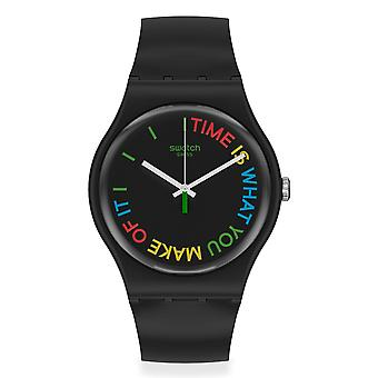 Swatch SO29B103 FREETID Zwart Siliconen Horloge