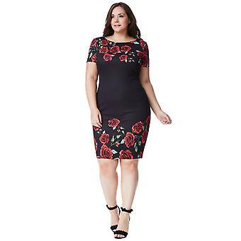 Plus size black rose print midi dress