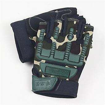 5-13 Years Kids Army Tactical Fingerless Gloves Anti-skid Half Finger Military