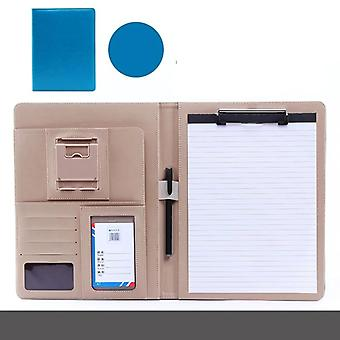 A4 Pu Leather File Folder With Calculator, Phone Holder Multifunction Office