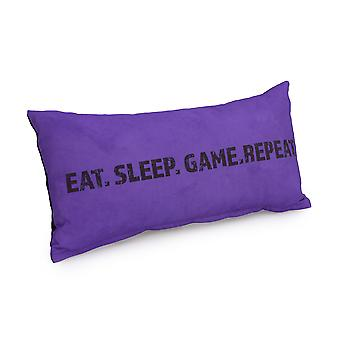 Game Over Eat, Sleep. Game, Repeat Slogan - Purple   Gaming Cushion   Foam Crumb Filled   Water Resistant   Bedding and Sofa   Home D�cor