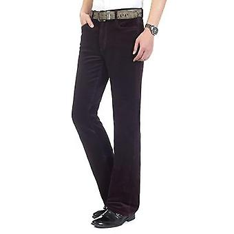 Heren's Spring Autumn Corduroy Boot Cut Pants, Male Mid Waist, Business Casual