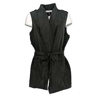 Rachel Hollis Ltd Women's Top Travel Vest w/Tie Belt Black A368532