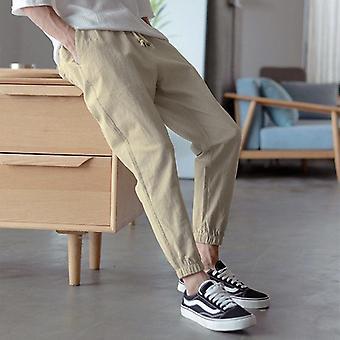 Cotton Linen Joggers Harem Pants, Fitness Lace Up Spring Mens Trousers, Summer