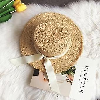 Summer Sun/beach Raffia Straw Hat, Bow Ribbon Cap Temperament Flat Straw Hats