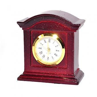 Dolls House Working Mantle Clock Mahogany Wood Miniature Living Room Accessory