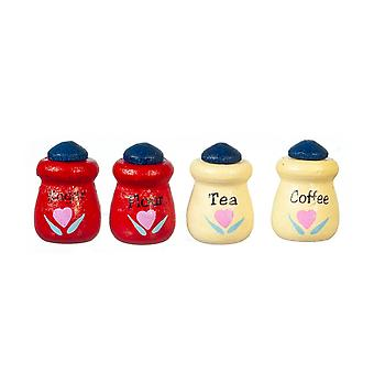 Dolls House Red Cream Blue Canister Set Storage Jars Miniature Kitchen Accessory