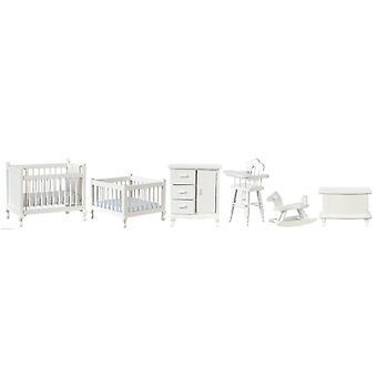 Dolls House Valkoinen Lastenhuone Huonekalut Setti Miniatyyri 6-osainen Vauvahuone 1:12 Asteikko