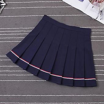 عالية الخصر مخطط تنورة مطوية مرنة أنثى حلوة تنورة الرقص البسيطة