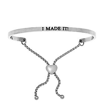 Intuitions Stainless Steel I MADE IT! Diamond Accent Adjustable Bracelet