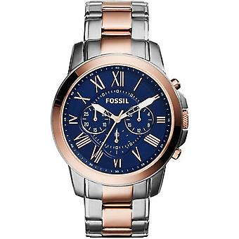 Fossil Men FS5024 Round Chrono Blue Dial Stainless Two Tones Band Montre