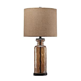 Glass Table Lamp With Fabric Drum Shade, Gold And Beige