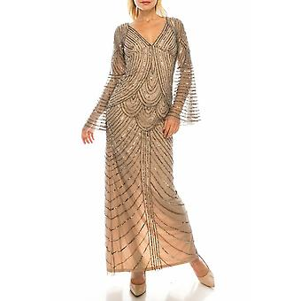 Mercury Nude Beaded Mesh Evening Gown
