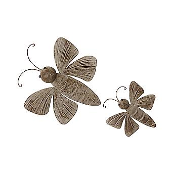 Set of 2 Weathered Brown Finish Dragonfly Wall Hangings Indoor / Outdoor Farmhouse Decor