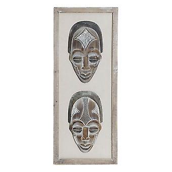 Dekoracja ścienna Dekodonia Wood z tkaniną Maska kolonialna