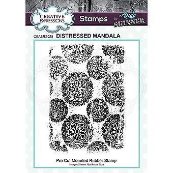 Kreative uttrykk Andy Skinner Distressed Mandala 4,5 x 3,2 i gummistempel