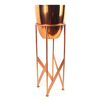 Plantadora de cobre de 55 cm con soporte a juego