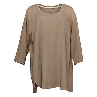 Isaac Mizrahi Live! Vrouwen>Top Plus Katoenen Tulp Hem Tuniek Bruin A373633