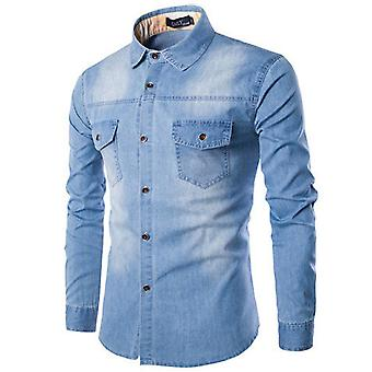 Yunyun Men's Casual Washed Denim Long-sleeved Shirt