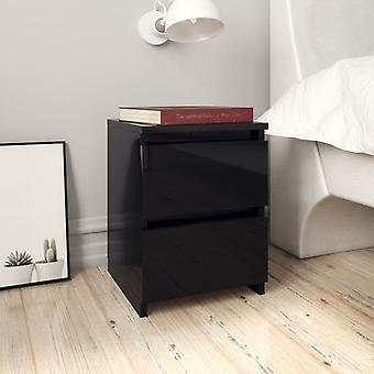 vidaXL Tables de chevet 2 pcs. Noir brillant 30×30×40 cm panneau de particules