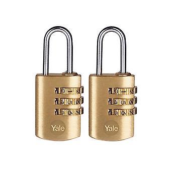 Yale Locks Brass Combination Padlock 22mm (Pack 2) Y150B/22/120/2