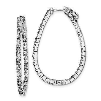 925 Sterling Silver CZ Cubic Zirconia Simulerad Diamant In och Ut Hoop Örhängen Mäter 38x26.8mm Bred 2.35mm Tjock Je