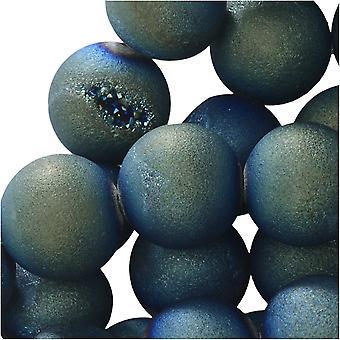 Dakota Stones Gemstones Agate Geode Druzy, Round 10mm, 15 Inch Strand, Iridescent Green