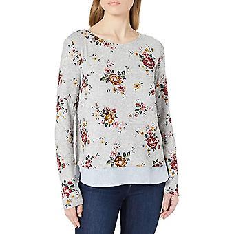 Springfield Camiseta Bimateria Estampada T-Shirt, Grey, L Woman