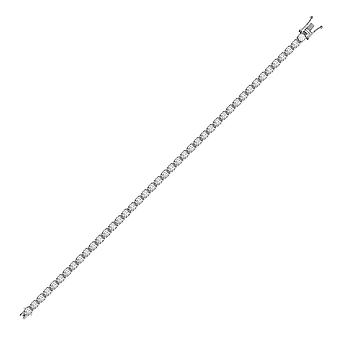 Jewelco London Solid 18ct White Gold 4 Claw Set Round H SI3 8ct Diamond Eternity Line Tennis Bracelet