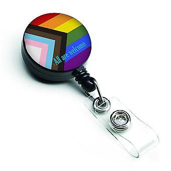 Gay Pride Progress Pride All are Welcome Retractable Badge Reel