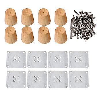 8pcs 6x6x4cm Tapered Wooden Furniture Legs for Coffee Tables Wood Color