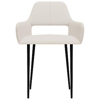 vidaXL sillas de comedor 4 piezas de tela crema