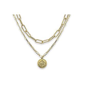 Boho betty beira gold 2 chunky chain layering necklace set