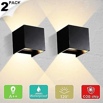Indoor / outdoor wall light 12w adjustable led wall lights 3000k warm white waterproof ip65 wall lamp(2pcs) dt5956