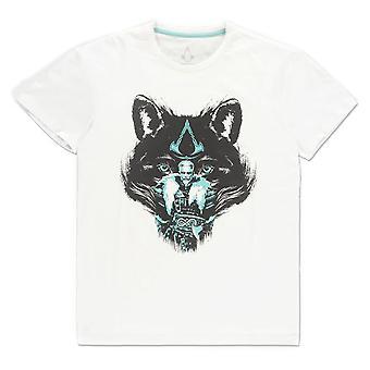ASSASSIN'S CREED - Valhalla Wolf Miesten keskikokoinen T-paita - Valkoinen