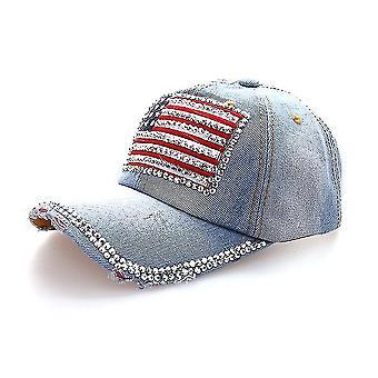 Casquette de diamant de chapeau de base-ball de denim de drapeau de nous