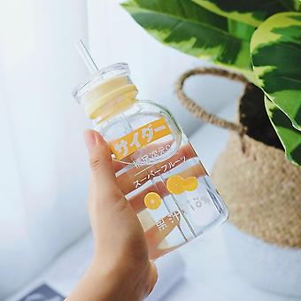450ml Silicone Glass Bottles Water Bottle Eco Friendly Glass With A Straw Glasses Cups(Orange)