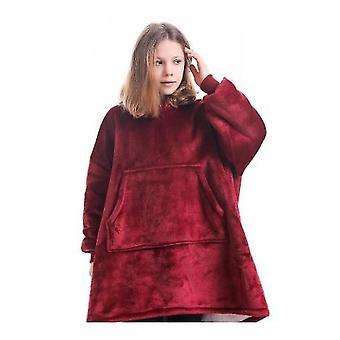 Hooded Blanket Pullover For Children(Wine Red)