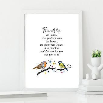 Bird Friendship Poem Wall Art Print   Gift for a Friend   A4 w/ White Frame
