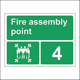 FS204 Fire Assembly Point 4 Sign with Four Arrows Pointing To Group Of People Running