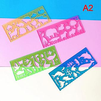Natural Scene Drawing Pattern Ruler, Cute School Supplies, 1 Set Of 4 Different Animal Rulers