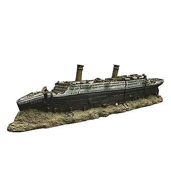 Aquarium Fish Tank Vintage Decorative  Lost Wrecked Boat Titanic Ship Ornaments Resin Design