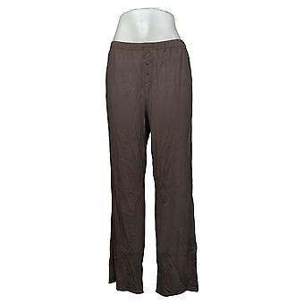 لينة ومريحة ملابس النوم النسائية بيجامة السراويل ث / زر التفاصيل براون 627830