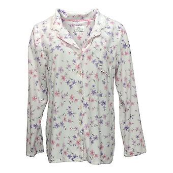 Aria Women's Brushed Waffle Knit Pajama Top White 631033