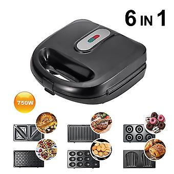 Household 6 In1 Optional Baking Pan Multifunction Electric Waffle Maker  Grill|Waffle Makers