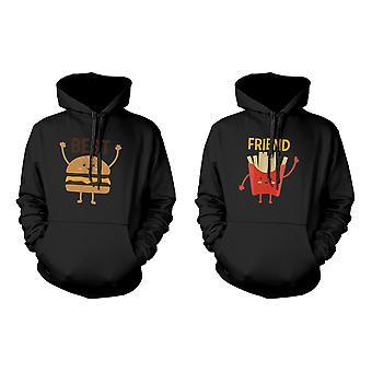 Burgare och pommes frites BFF Hoodies bästa vän matchande huva tröjor