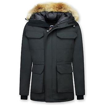 Parka Coat - With Fur Collar - Black
