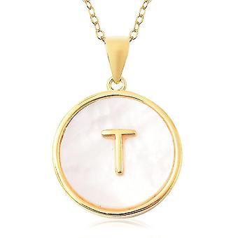 Perlmutt Initial T Halskette Vergoldet Silber Alphabetischer Schmuck 18''