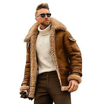 Miesten lämmin talvitakki nahkatakki Fur Parka Fleece Slim