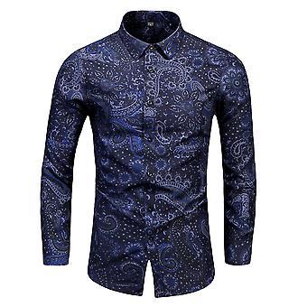 Mile Mens Casual Printed Shirts Long Sleeve Printed Shirt Button Down Dress Shirt Tops Dark Blue